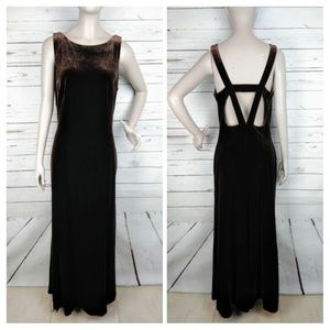 Vintage 90's Brown Velvet Cutout Back Gown